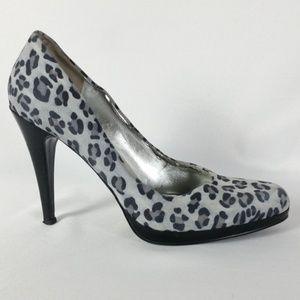 Nine West 8M Gray/Black Leather Heels S6-20